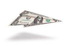 Dollar plane. One dollar plane isolated on white background Royalty Free Stock Photography