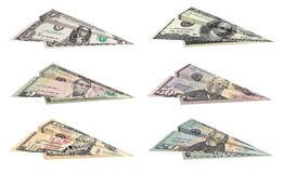 Dollar planes. Set of paper dollar planes isolated on white background royalty free stock image