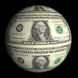 Dollar planet on a black background Royalty Free Stock Photos