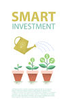 Dollar plant in the pot and watering can. Financial growth concept.  Smart investment. Vector illustration. Stock Photography