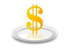 Dollar on a plate Royalty Free Stock Photo
