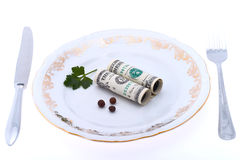 Dollar on plate. Dish from dollars on white background - economics consumption Stock Photography