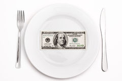 Dollar on  plate Royalty Free Stock Image