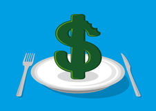 Dollar on plate cartoon  Royalty Free Stock Photos