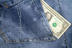 Dollar in pocket Stock Photo
