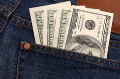 Dollar in pocket Royalty Free Stock Photos