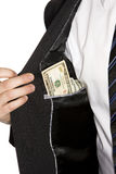 Dollar in the pocket Stock Photography