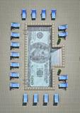 Dollar pool. 3D render of swimming pool with hundred dollar bill tiled on bottom vector illustration