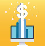 Dollar pop up on screen computer and yellow background, successful business concept illustration Stock Photography