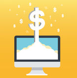 Dollar pop up on screen computer and yellow background, successful business concept illustration Stock Photo
