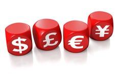Dollar, pound, euro and yen symbols. Cubes showing dollar, pound, euro and yen icons on white background Royalty Free Stock Images