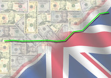 Dollar pound exchange rate. Graph 2008 on currency and flag illustration Stock Photography