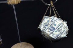 Dollar and Pound notes on scale. Foreign exchange concept Royalty Free Stock Photography