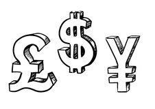 Dollar, pound and yen currency signs Royalty Free Stock Photography