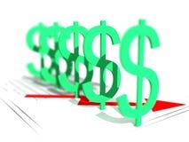 Dollar Power. 3D Illustration of many dollar signs royalty free illustration