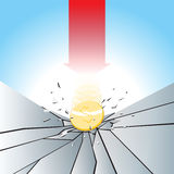 Dollar Pressure Test. Vector illustration of gold dollar coin smashed to the breaking ground with red arrow Royalty Free Stock Image