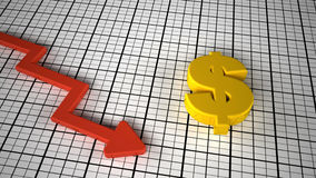 Dollar price down concept graph. 3d render Royalty Free Stock Photo