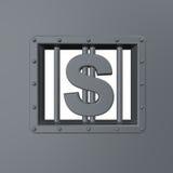 Dollar prison. Riveted steel prison window with dollar symbol - 3d illustration Royalty Free Stock Photo