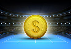 Dollar prize money placed on a blue tennis court Royalty Free Stock Images