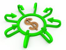 Dollar with profit arrows Royalty Free Stock Images