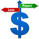 Dollar with Profit Loss Sign. Dollar sign with Profit and Loss sign like road sign royalty free stock photo