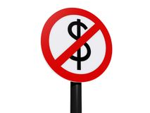 Dollar prohibited sign Royalty Free Stock Image