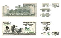 100 dollar pussel Fotografering för Bildbyråer