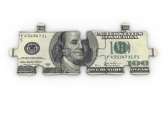 Dollar puzzle. Currency USA on puzzle pieces Stock Images