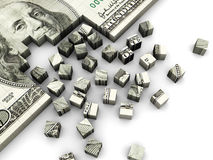 Dollar puzzle. 3d illustration of dollar banknote built from cube blocks Stock Image