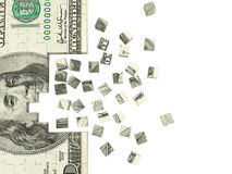 Dollar puzzle. 3d illustration of dollar puzzle background with copy space Stock Photo