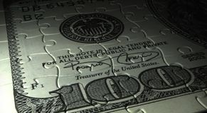 Dollar Puzzle. Puzzle of Dollar close-up (computer generated image royalty free illustration