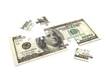 Dollar puzzle 3D. 100 dollar bill in puzzle, 3D render over white, isolated royalty free illustration