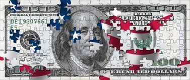 Dollar Puzzle. 100 Dollar Bill as a puzzle with missing pieces and us falg in the background Royalty Free Stock Photos