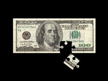 Dollar puzzle black. 100 dollar bill in solved puzzle, 3D render over black, isolated Royalty Free Stock Photography