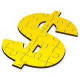 Dollar puzzle, gold and solid Royalty Free Stock Images