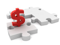 Dollar puzzle piece. 3D render Stock Photo
