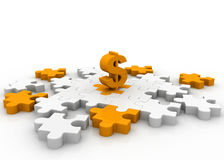 Dollar on puzzle pieces Stock Photo