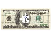 Dollar puzzle with question mark. 100 dollar bill in puzzle, piece missing stock illustration