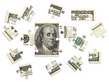 Dollar puzzle scattered. 100 dollar bill, incomplete puzzle, 3D render over white, isolated Stock Photos