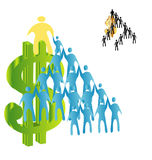 Dollar and a pyramid of people Stock Images