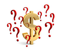 Dollar In Question. A gold dollar symbol encircled by red question marks portraying financial concepts such as questions about the dollar or how much to spend Royalty Free Stock Photo