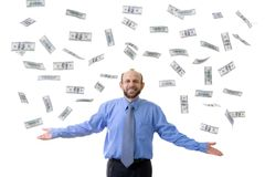 Dollar rain. Wealthy man with lot's of hundreds usd Royalty Free Stock Images