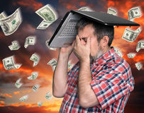 Dollar rain - finance concept. Stock Photo