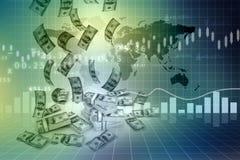 Dollar rain  and finance graphs Royalty Free Stock Image