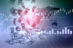 Dollar rain  and finance graphs Royalty Free Stock Images