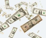 Dollar raing. Rain of dollars from the sky Stock Photo