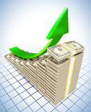 Dollar raising charts. 3d illustration of dollar raising charts and upward green arrow Stock Images