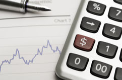 Dollar Rate. A dollar sign on a calculator Stock Images