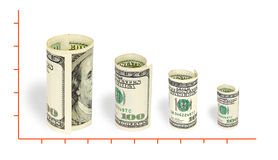Dollar rate. On white background Stock Photo