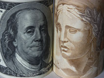 Dollar and Real. USA Brazil business comparison currency Stock Image
